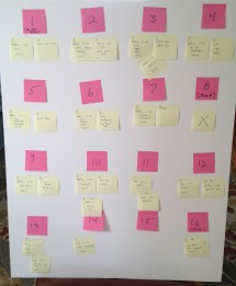 Foam core and sticky notes used for course planning